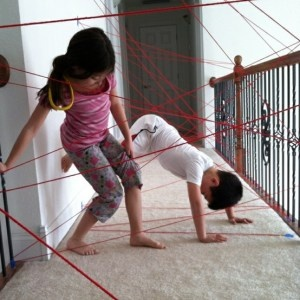 Let  your small folk play secret agent with string taped throughout the house!! Image from http://diyfamilyti.me