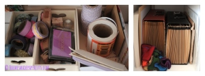 Three small wooden boxes contain everything I need to keep at hand for packing and posting, while a cupboard which serves as a table 'leg' holds essentials like paper, prints, baking boards and my arm warmers!