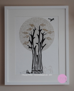 A family tree papercut for a golden anniversary
