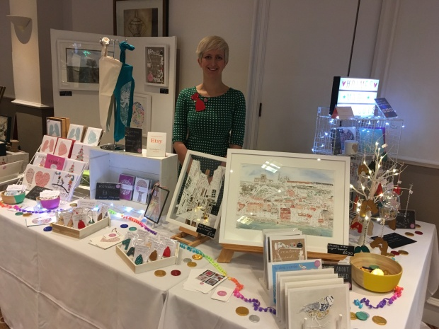 Melissa Holmes of HolmesMadePapercuts at the Etsy Made Local Christmas Market in York, December 2016