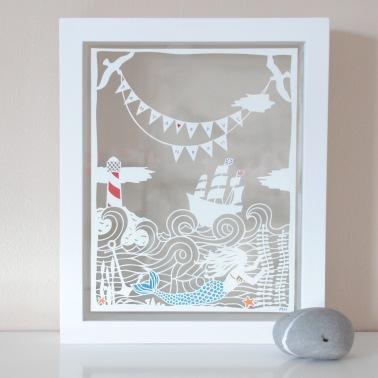 Custom family mermaid papercut
