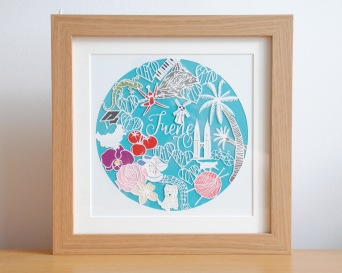 """Personalised birthday gift """"papoodle"""" (papercut doodle)"""